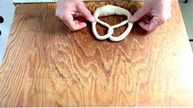 forming German pretzel
