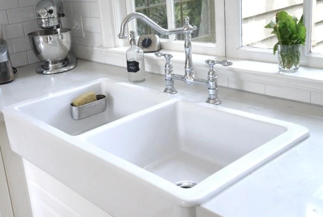 white Ikea farmhouse sink