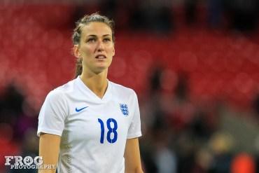England's Jill Scott on November 23, 2014, at Wembley Stadium.