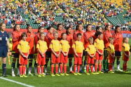 Colombia's starting lineup against the USA before a Round of 16 matchup in the 2015 FIFA Women's World Cup.