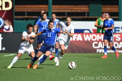 USA's Ali Krieger (11) against New Zealand on April 4, 2015.