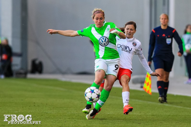 Anna Blässe (WOB) and Laure Boulleau (PSG).
