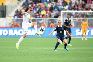 England's Jill Scott controls the ball during a match in group play at the 2015 FIFA Women's World Cup in Canada.