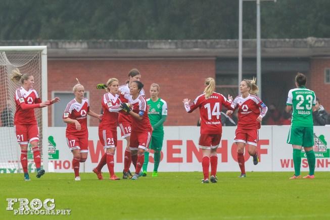FFC Frankfurt celebrates Bartusiak's goal off a penalty kick.
