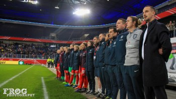 England's bench during the anthems.