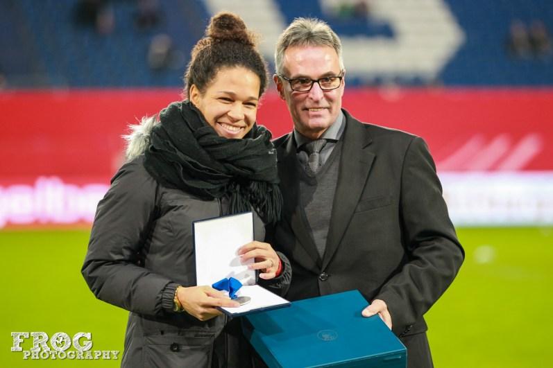 Célia Šašić is honored for her 111 caps for Germany.