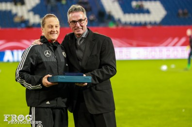 Melanie Behringer is honored for her more than 100 appearances for Germany.