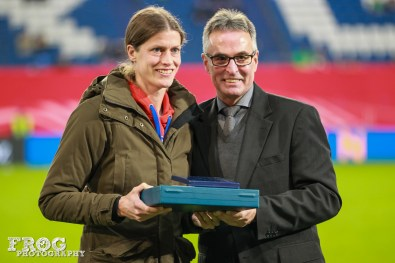 Kerstin Garefrekes is honored for appearing more than 100 times for Germany.