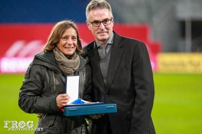 Sandra Smisek is honored for her 133 caps for Germany.