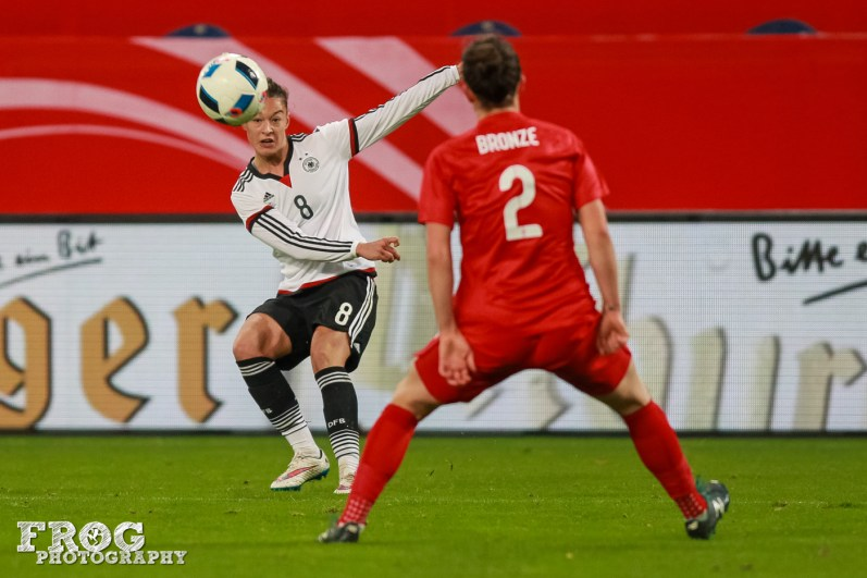 Germany's Felicitas Rauch takes a shot while England's Lucy Bronze defends.