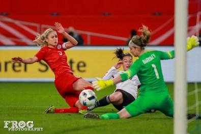 Karen Bardsley (ENG) saves a shot by Felicitas Rauch (GER).