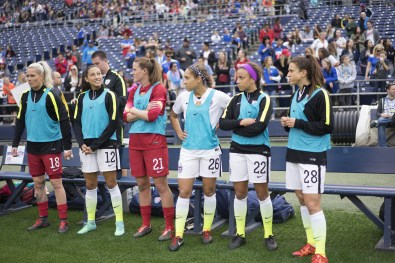 The U.S. bench during the match against Ireland.