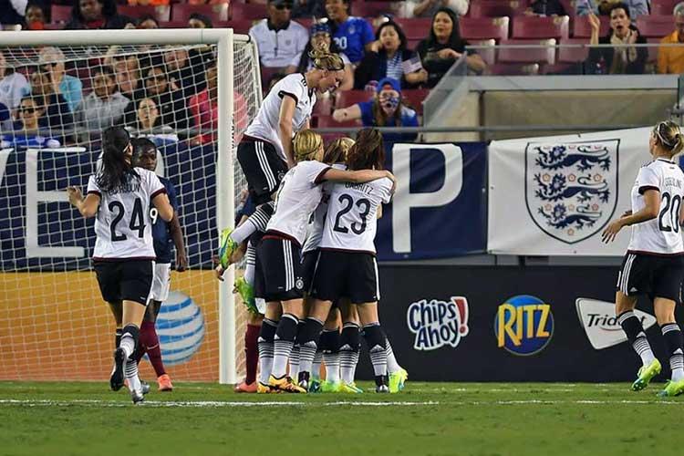 Germany celebrates a goal.