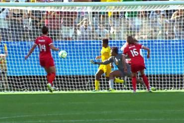 Canada's Janine Beckie scores against Zimbabwe.
