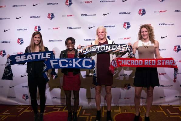 2017 NWSL College Draftees Katie Johnson, Toni Payne, Jane Campbell, and Morgan Proffitt. (Manette Gonzales/OGM)