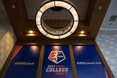 Signage at the 2017 NWSL College Draft.