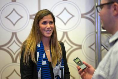 Katie Johnson, selected by the Seattle Reign FC, at the 2017 NWSL College Draft. (Manette Gonzales/OGM)