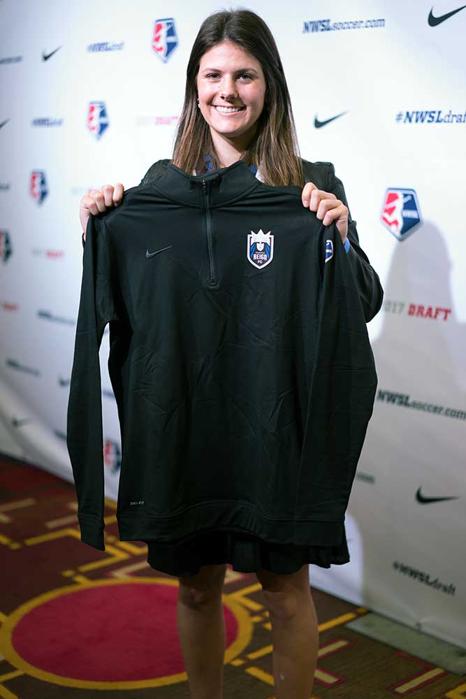 Maddie Bauer, selected by the Seattle Reign FC, in the 2017 NWSL College Draft. (Manette Gonzales/OGM)