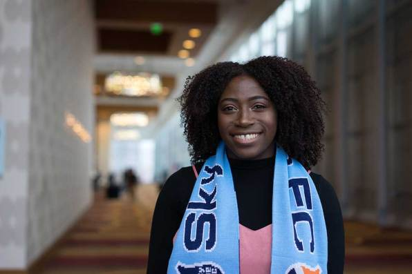 Miranda (Mandy) Freeman, the No. 10 overall pick, at the 2017 NWSL College Draft. (Manette Gonzales/OGM)