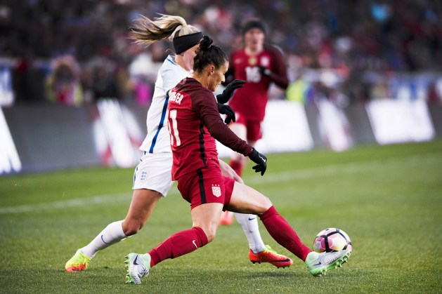 Ali Krieger defends against England during the 2017 SheBelieves Cup.
