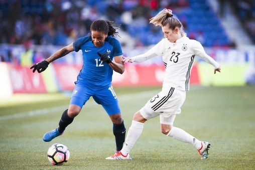 France's Elodie Thomis and Germany's Verena Faißt during the 2017 SheBelieves Cup.