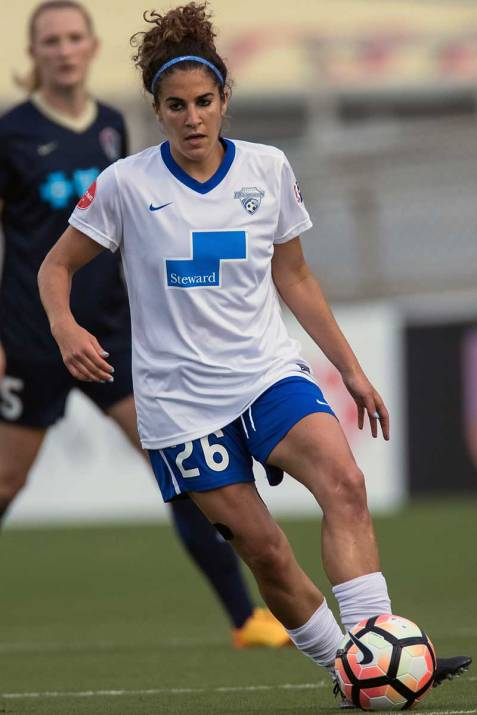 Angela Salem patrolling the midfield for the Boston Breakers. (Shane Lardinois)