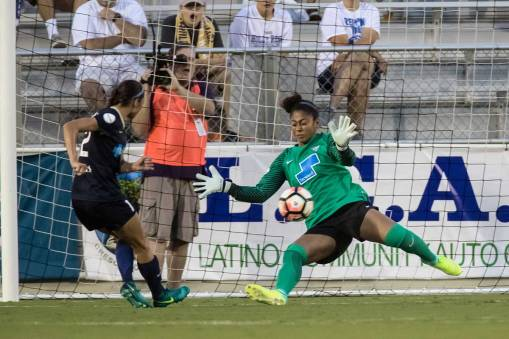 Boston Breakers goalkeeper Abby Smith denies Ashley Hatch. (Shane Lardinois)