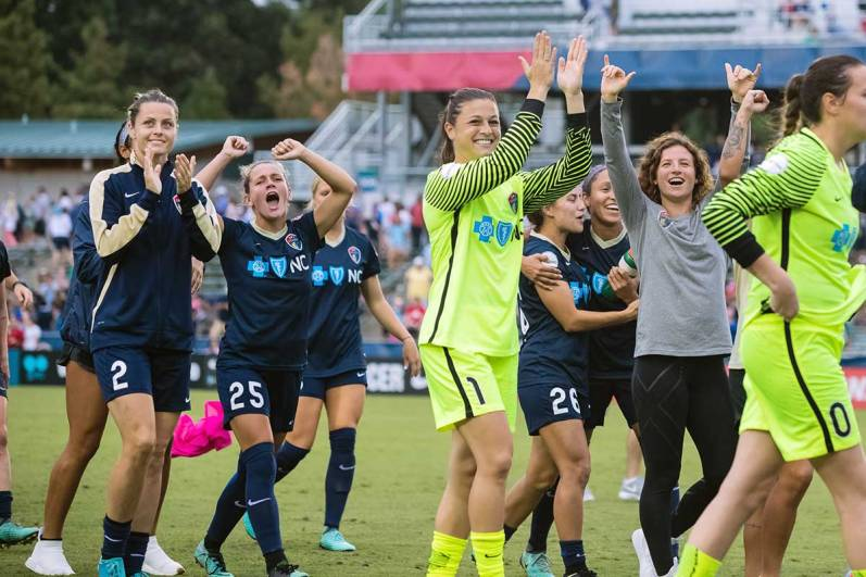 North Carolina Courage celebrating after their semifinal win. (Shane Lardinois)