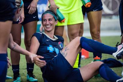 Abby Erceg, captain of the North Carolina Courage, after the semifinal match against the Red Stars. (Shane Lardinois)