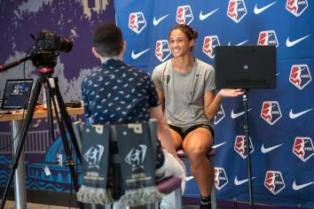 Lynn Williams on set for the NWSL during Media Day. (Monica Simoes)