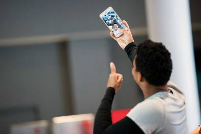 Adrianna Franch taking a selfie during 2017 NWSL Media Day. (Monica Simoes)