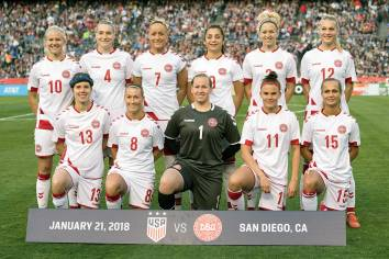 Denmark's starting lineup against the U.S. on January 21, 2018. (Manette Gonzales)