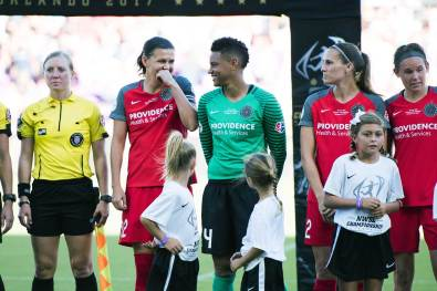Christine Sinclair and Adrianna Franch pregame of the 2017 NWSL Championship. (Monica Simoes)
