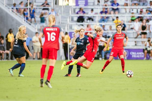 Lindsey Horan is fouled? What's going on here, Linds? (Monica Simoes)