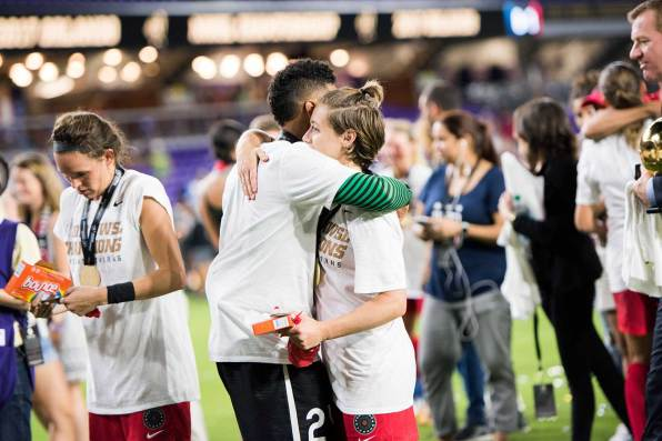 Adrianna Franch and Meghan Klingenberg after the 2017 NWSL Championship. (Monica Simoes)