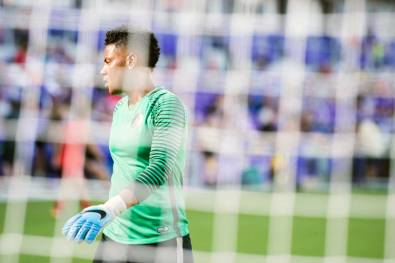 Adrianna Franch in net for the Portland Thorns during the 2017 NWSL Championship. (Monica Simoes)