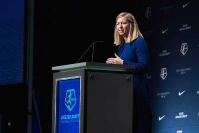 Amanda Duffy, acting commissioner of the NWSL, at the 2018 NWSL College Draft.