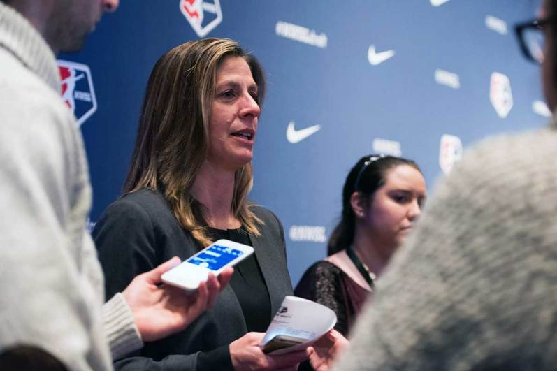 Sky Blue FC head coach Denise Reddy speaking with media at the 2018 NWSL College Draft.
