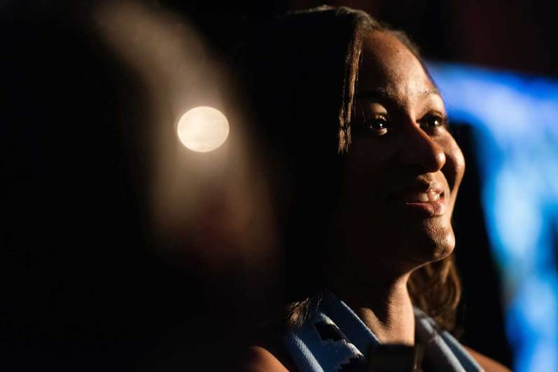 Imani Dorsey, minutes after being drafted by Sky Blue (Monica Simoes).