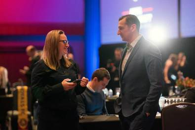 Laura Harvey and Vlatko Andonovski at the 2018 NWSL College Draft (Monica Simoes).