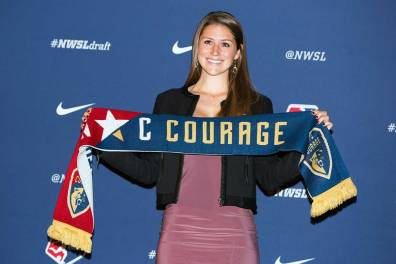Morgan Reid, North Carolina's pick at No. 38, at the 2018 NWSL Collge Draft (Monica Simoes)