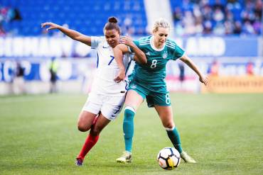 England's Nikita Parris and Germany's Lena Goessling during the 2018 SheBelieves Cup. (Monica Simoes)