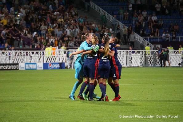 Lyon celebrates during the 2018 Champions League final. (Daniela Porcelli)