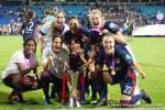 Lyon players celebrate winning the 2018 Champions League title. (Daniela Porcelli)