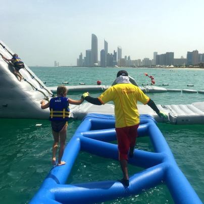 Helpful life guards at AquaFun Abu Dhabi Corniche inflatable play park | Review by Our Globetrotters