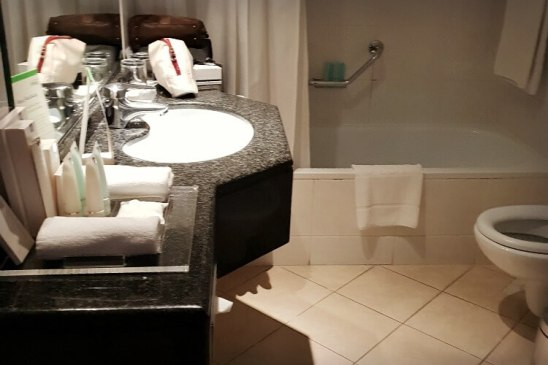 Master Bathroom at Gefinor Rotana Beirut a family-friendly hotel option in Lebanon | Our Globetrotters Family Travel Blog Hotel Review