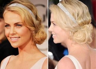 Charlize Theron retro hairstyle Golden Globe Awards