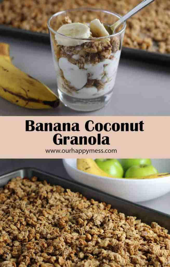Banana coconut granola makes a healthy, hearty, delicious breakfast, and is great for guilt-free snacking.