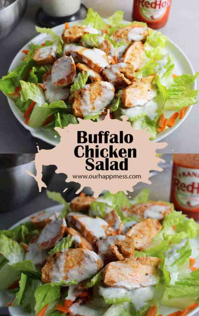 This Buffalo chicken salad features crisp greens with tender chicken breast tossed in buffalo sauce, and drizzled with blue cheese or ranch.