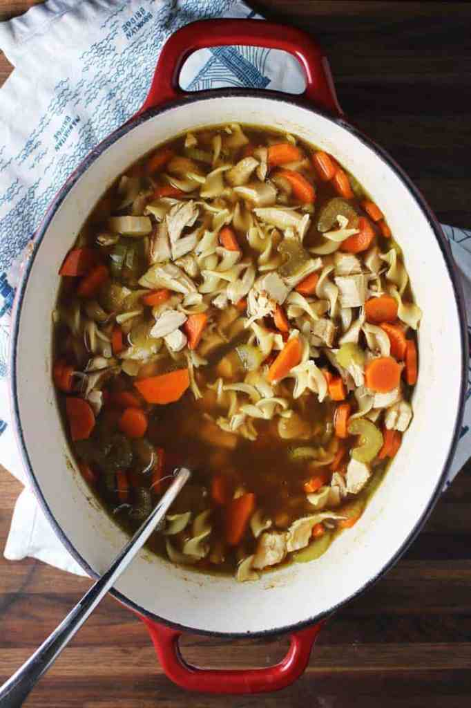Pot of homemade quick chicken noodle soup